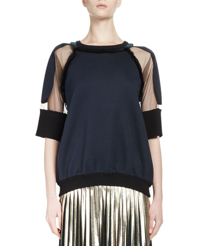 Half-Sleeve Bonded Tulle Jersey Top, Navy