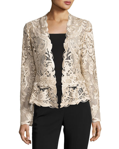 Miranda Tailored Lace Cocktail Jacket, Champagne