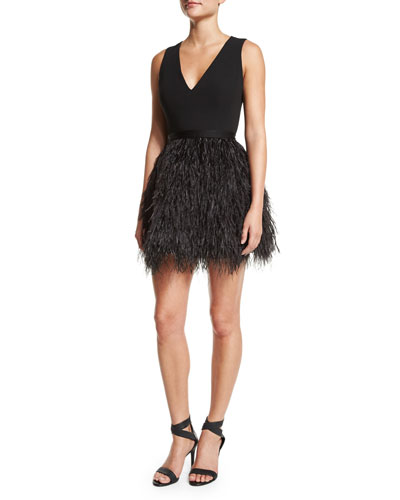 Kiara V-Neck Feather-Trim Bell Dress, Black