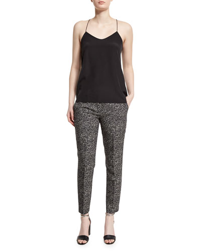 Straight-Leg Herringbone Cropped Pants, Lawn