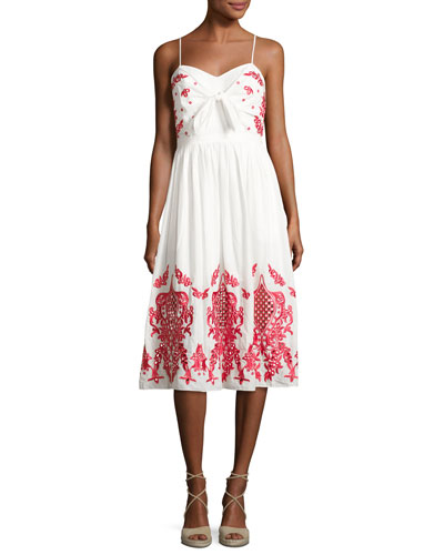 Sage Embroidered Cotton Sundress