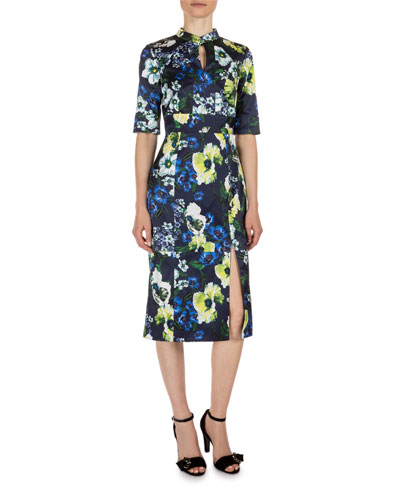 Davina Floral-Print Keyhole Dress, Navy/Yellow