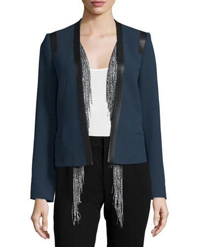 Cotton Leather-Trim Jacket w/ Silk Vest