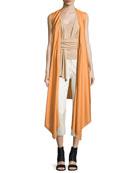 Sleeveless Wool-Blend Wrap Vest, Sunset
