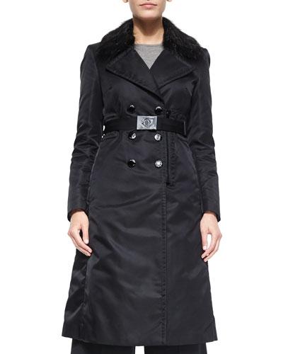 Sisteron Fur-Trim Trenchcoat, Black