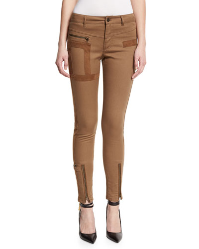 Military-Style Jeans W/Suede Trim, Moleskin