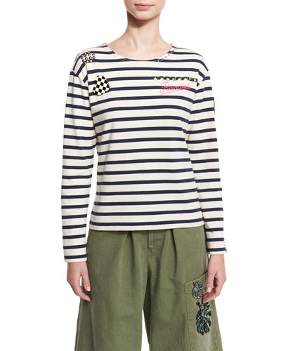 Embellished Striped Long-Sleeve Tee, Ecru/Navy