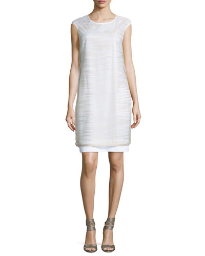 Striped Sheer-Overlay Dress, White/Stone