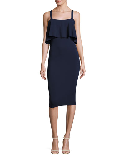 Sleeveless Flounce Sheath Dress, Navy