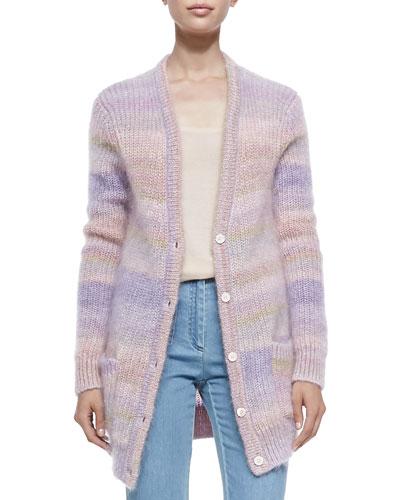 Long Shaker-Knit Cardigan, Thistle/Blush