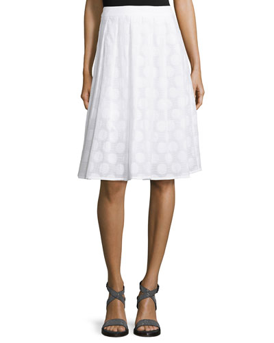 Circle-Print Flared Midi Skirt