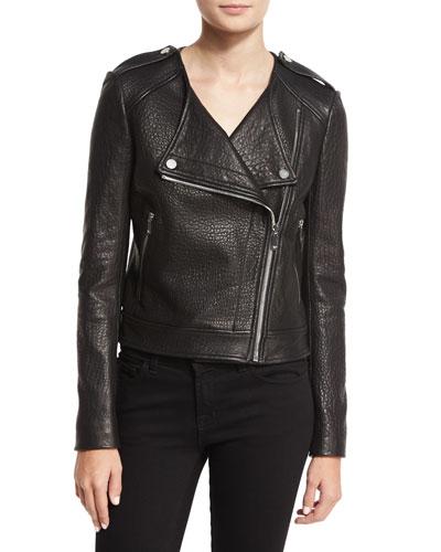 Tadessa Leather Biker Jacket, Black