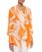 Caroline Rose Orange Swirl Draped Jacket