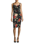 Sleeveless Floral Sweetheart Sheath Dress, Petal Pusher