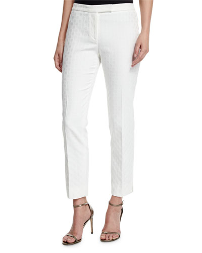 Circle Jacquard Slim Pants, White