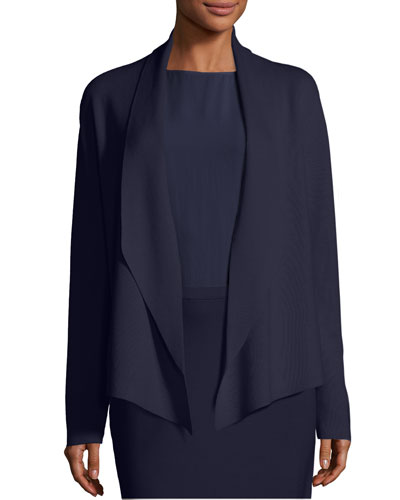 Plus Size Shawl-Collar Draped Knit Jacket