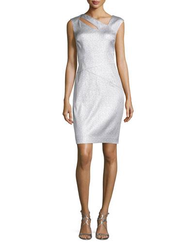 Metallic Jacquard Cutout Dress, Platinum