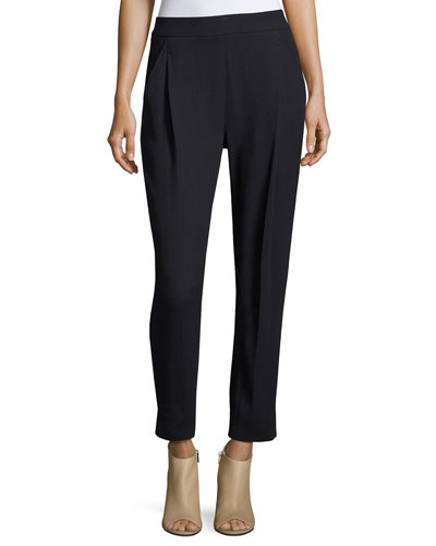 Single-Pleat Textured Trousers