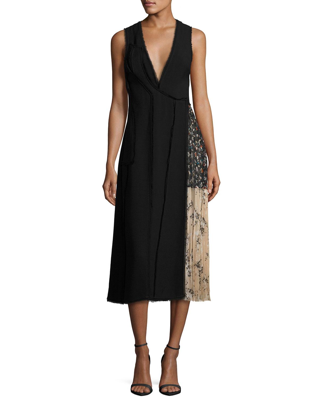 Fringed Faux-Wrap Dress w/Chiffon Panel, Black