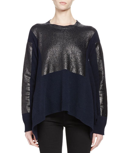 Metallic Long-Sleeve Asymmetric Sweater, Navy