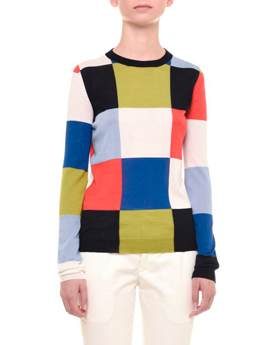 Long-Sleeve Geometric-Square Top, Multi Colors