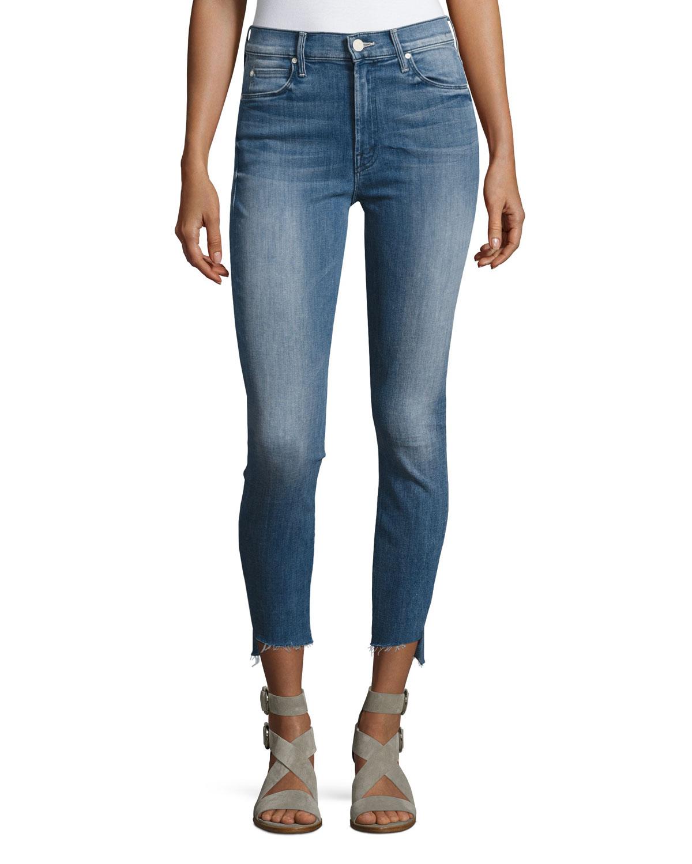 Stunner Zip Ankle Step Fray Jeans Blue