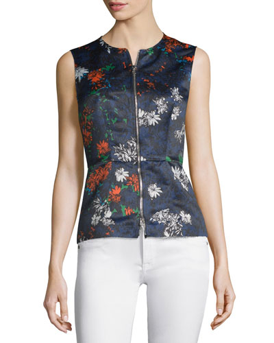 Sleeveless Floral-Print Zip-Front Top, Fantasia Blue