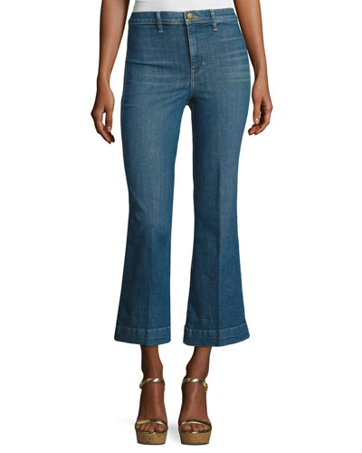 The Sea Crop Flare-Leg Jeans, Clear Water Wash