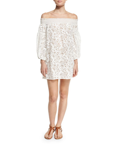 Socialite Off-the-Shoulder Lace Coverup Dress