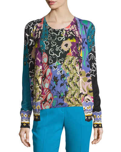 Patchwork Printed Silk/Cashmere Cardigan, Blue/Purple