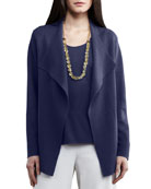 Open Interlock Jacket, Navy, Petite