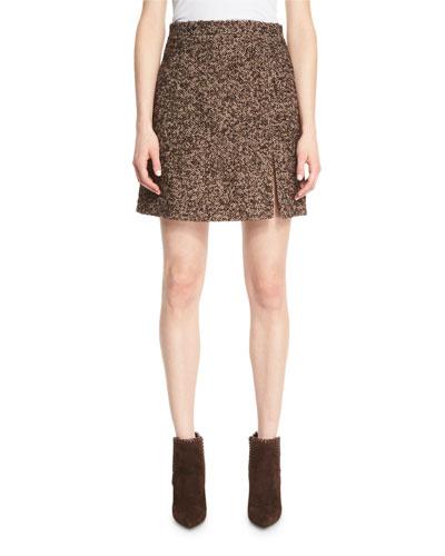 Herringbone Tweed A-Line Skirt