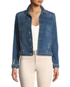 L'Agence Celine Button-Down Slim Denim Jacket and Matching