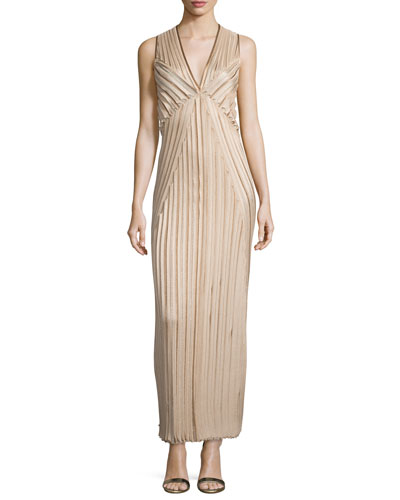 Sleeveless Metallic Pleated Gown, Champagne