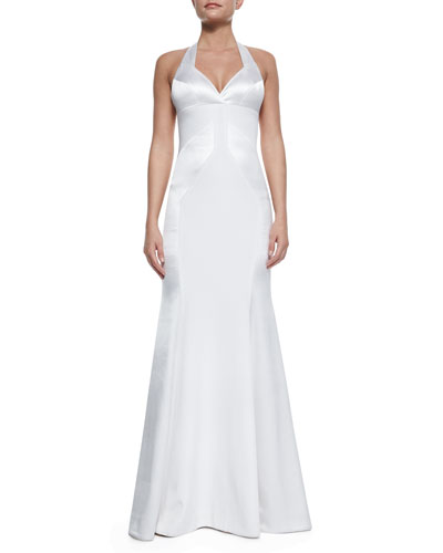 Silk Open-Back Halter Gown, White
