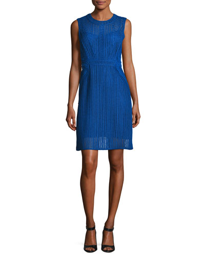 Jaydyn Sleeveless Crocheted Cotton Dress, Blue