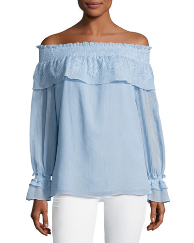 Louella Ruffled Off-the-Shoulder Blouse, Blue