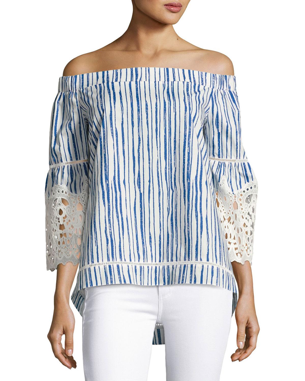 Miranda Off-the-Shoulder Striped Cotton Blouse