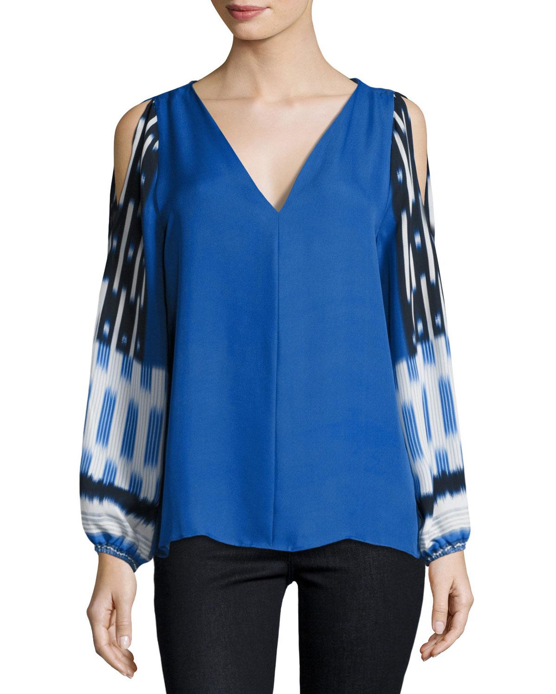 Sahara Mixed-Print Cold-Shoulder Silk Blouse, Multi