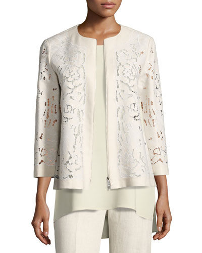 Lavish Embroidered Floral-Cutout Linen Jacket, Light Beige