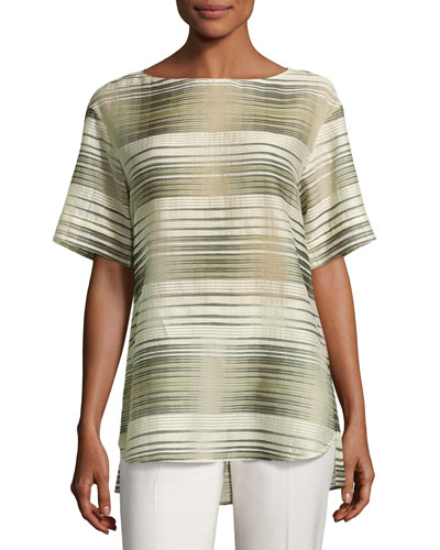 Samara Half-Sleeve Linear Mirage Blouse, Multi