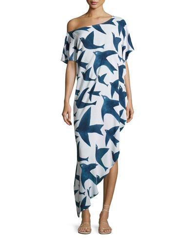 One-Shoulder Bird-Print Dashiki Coverup Dress, White/Navy Blue