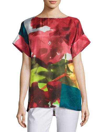 Lori Short-Sleeve Mambo Magnolia Silk Blouse, Multi Pattern