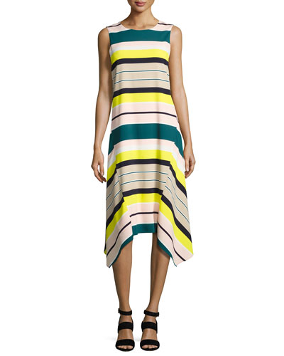 Romona Sleeveless Merengue-Striped Tech Dress, Multi