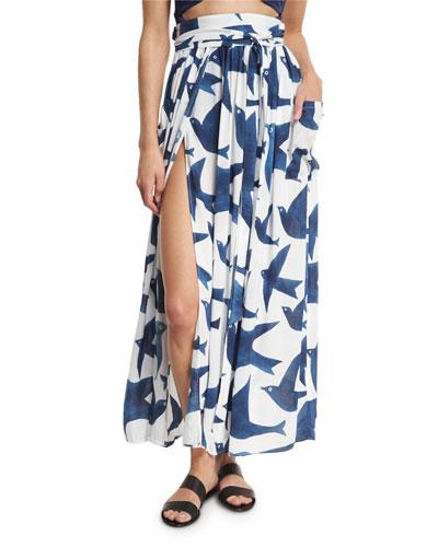 Bird-Print Slit-Front High-Waist Belted Maxi Skirt, White/Blue