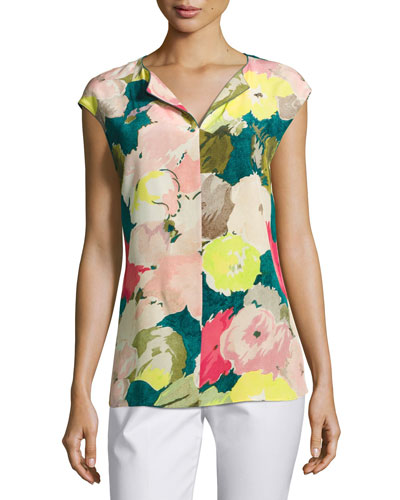 Joanie Cap-Sleeve Celia Bouquet Silk Blouse, Multi