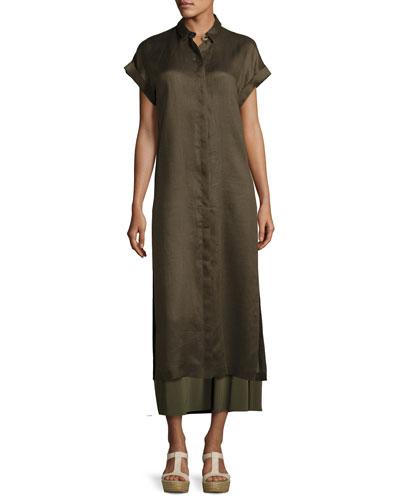 Antonella Short-Sleeve Long Satin Blouse