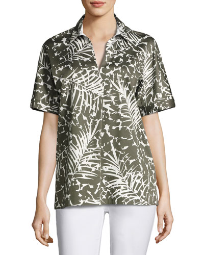 Damon Short-Sleeve Grove Palm-Print Stretch-Cotton Blouse, Multi