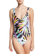 Printed Scoop High-Cut Maillot, Black Multicolor