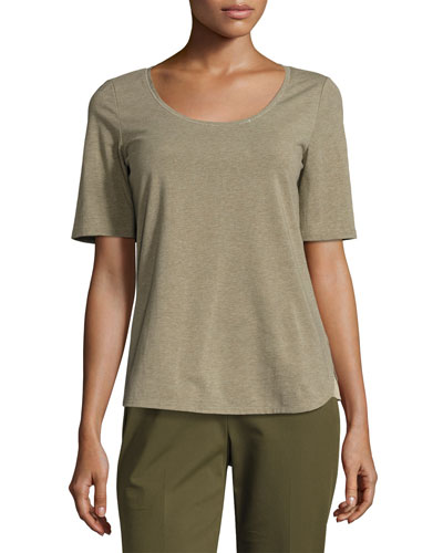 Chain-Trim Scoop-Neck Melange Jersey Top, Dark Green